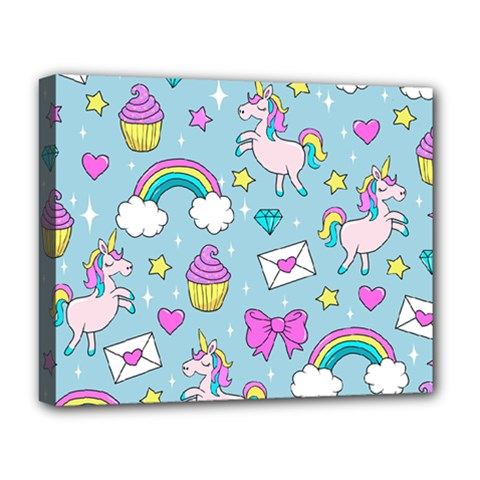 Cute Unicorn Pattern Deluxe Canvas 20  X 16   by Valentinaart