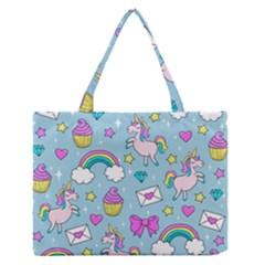 Cute Unicorn Pattern Zipper Medium Tote Bag by Valentinaart