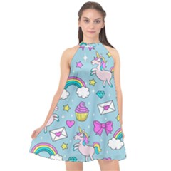 Cute Unicorn Pattern Halter Neckline Chiffon Dress  by Valentinaart