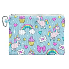 Cute Unicorn Pattern Canvas Cosmetic Bag (xl) by Valentinaart