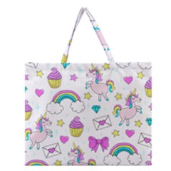 Cute Unicorn Pattern Zipper Large Tote Bag by Valentinaart