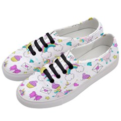 Cute Unicorn Pattern Women s Classic Low Top Sneakers by Valentinaart