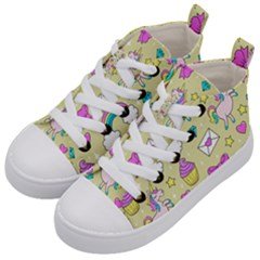 Cute Unicorn Pattern Kid s Mid Top Canvas Sneakers by Valentinaart