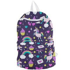 Cute Unicorn Pattern Foldable Lightweight Backpack by Valentinaart