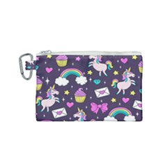 Cute Unicorn Pattern Canvas Cosmetic Bag (small) by Valentinaart
