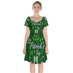 St Patricks Leprechaun Short Sleeve Bardot Dress by Valentinaart