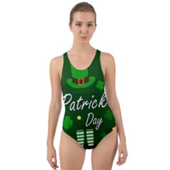 St Patricks Leprechaun Cut Out Back One Piece Swimsuit