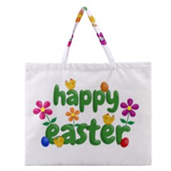 Happy Easter Zipper Large Tote Bag by Valentinaart
