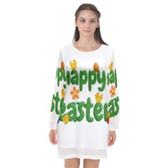 Happy Easter Long Sleeve Chiffon Shift Dress