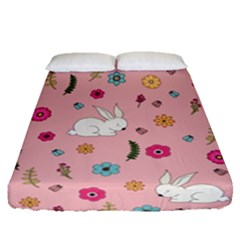Easter Bunny  Fitted Sheet (queen Size) by Valentinaart