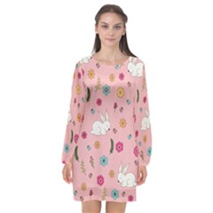 Easter Bunny  Long Sleeve Chiffon Shift Dress  by Valentinaart