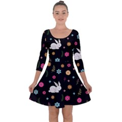 Easter Bunny  Quarter Sleeve Skater Dress