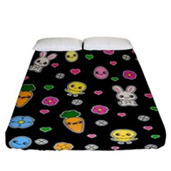 Easter Kawaii Pattern Fitted Sheet (california King Size)