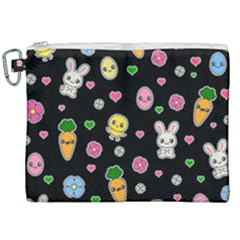 Easter Kawaii Pattern Canvas Cosmetic Bag (xxl)