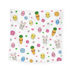 Easter Kawaii Pattern Square Tapestry (small)