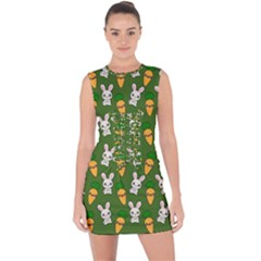 Easter Kawaii Pattern Lace Up Front Bodycon Dress