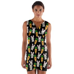 Easter Kawaii Pattern Wrap Front Bodycon Dress