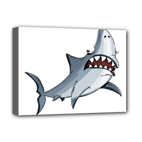 Scary Cute Shark Deluxe Canvas 16  X 12   by ImagineWorld