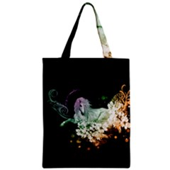 Wonderful Unicorn With Flowers Zipper Classic Tote Bag by FantasyWorld7