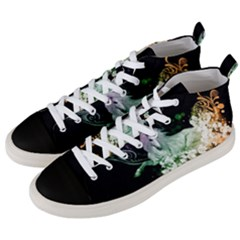 Wonderful Unicorn With Flowers Men s Mid Top Canvas Sneakers by FantasyWorld7
