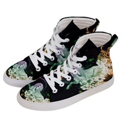 Wonderful Unicorn With Flowers Women s Hi Top Skate Sneakers by FantasyWorld7