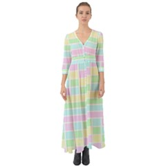 Geometric Pastel Design Baby Pale Button Up Boho Maxi Dress by Nexatart