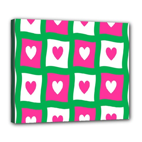 Pink Hearts Valentine Love Checks Deluxe Canvas 24  X 20