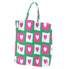 Pink Hearts Valentine Love Checks Giant Grocery Zipper Tote