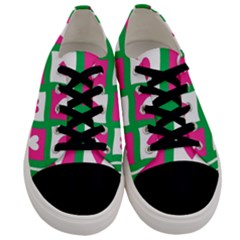 Pink Hearts Valentine Love Checks Men s Low Top Canvas Sneakers