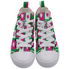 Pink Hearts Valentine Love Checks Kid s Mid Top Canvas Sneakers