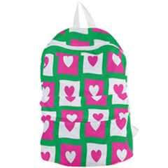 Pink Hearts Valentine Love Checks Foldable Lightweight Backpack