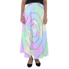 Color Wheel 3d Pastels Pale Pink Flared Maxi Skirt