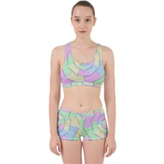Color Wheel 3d Pastels Pale Pink Work It Out Sports Bra Set
