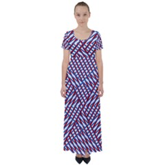 Abstract Chaos Confusion High Waist Short Sleeve Maxi Dress