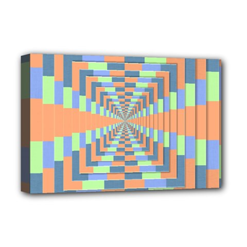 Fabric 3d Color Blocking Depth Deluxe Canvas 18  X 12   by Nexatart