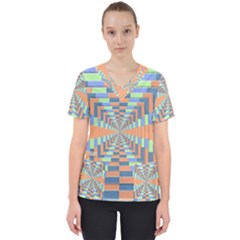 Fabric 3d Color Blocking Depth Scrub Top
