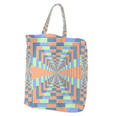 Fabric 3d Color Blocking Depth Giant Grocery Zipper Tote