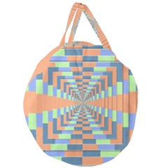 Fabric 3d Color Blocking Depth Giant Round Zipper Tote