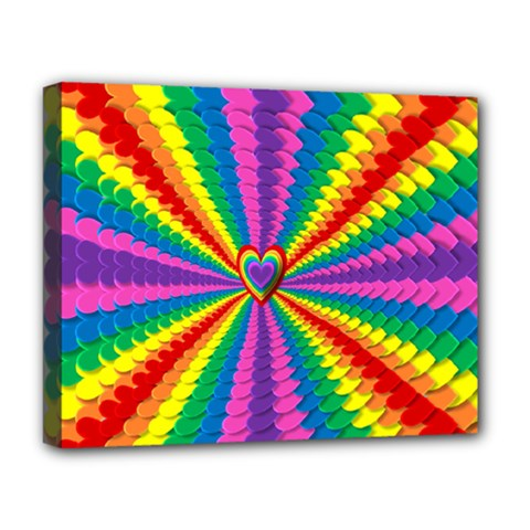 Rainbow Hearts 3d Depth Radiating Deluxe Canvas 20  X 16