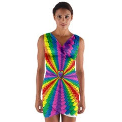 Rainbow Hearts 3d Depth Radiating Wrap Front Bodycon Dress