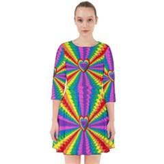 Rainbow Hearts 3d Depth Radiating Smock Dress