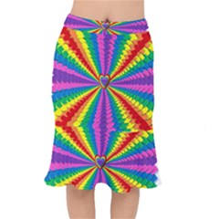 Rainbow Hearts 3d Depth Radiating Mermaid Skirt