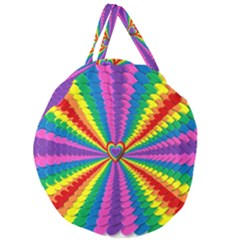 Rainbow Hearts 3d Depth Radiating Giant Round Zipper Tote