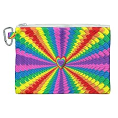 Rainbow Hearts 3d Depth Radiating Canvas Cosmetic Bag (xl) by Nexatart