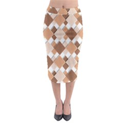 Fabric Texture Geometric Midi Pencil Skirt