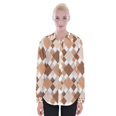 Fabric Texture Geometric Womens Long Sleeve Shirt