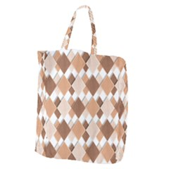Fabric Texture Geometric Giant Grocery Zipper Tote