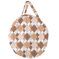 Fabric Texture Geometric Giant Round Zipper Tote