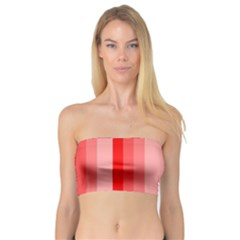 Red Monochrome Vertical Stripes Bandeau Top