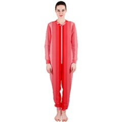 Red Monochrome Vertical Stripes Onepiece Jumpsuit (ladies)